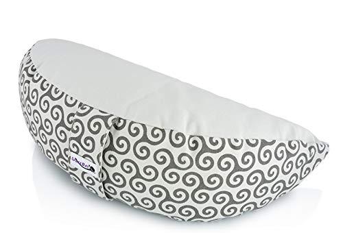 SPACEBAY Meditationskissen Halbmond - Harmonisches Yoga Kissen für bequemes aufrechtes sitzen mit Buchweizenschalen - 15 cm Hoch - Halbmondkissen für die Meditation & Yoga - Inklusive Wechselbezug
