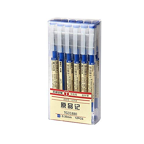 Rollerball Stift SUNSHINETEK 0,35 mm Gel-Tintenstift Blaue schnell trocknender Tintenstift Extra feine Kugelschreiber für Schreibwaren (Blaue Tinte, 12 Stück)