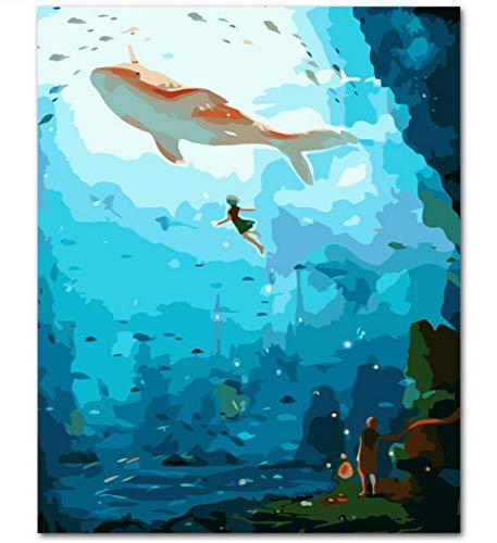 Big Fish Begonia DIY Malen nach Zahlen Acrylfarbe nach Zahlen Handgemaltes Ölgemälde auf Leinwand für Hauptdekor 40x50cm kein Rahmen