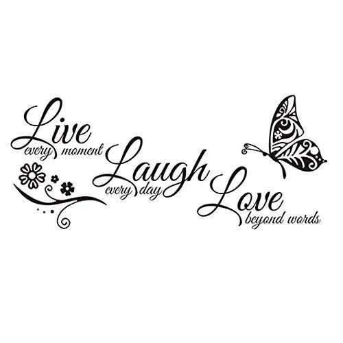 JUNGEN Pegatina de Pared de Letras del Live Laugh Love Etiqueta de Pared Frase Inglesa con Decoración de Flores y Mariposas Pegatina de Pared Vinilo Decoración del hogar 74x32cm