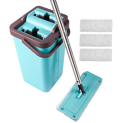 Flat Mop - Sistema de limpieza en seco con 4 mopas de microfibra lavables para el cuarto de baño, la cocina o la oficina para limpiar todo el suelo