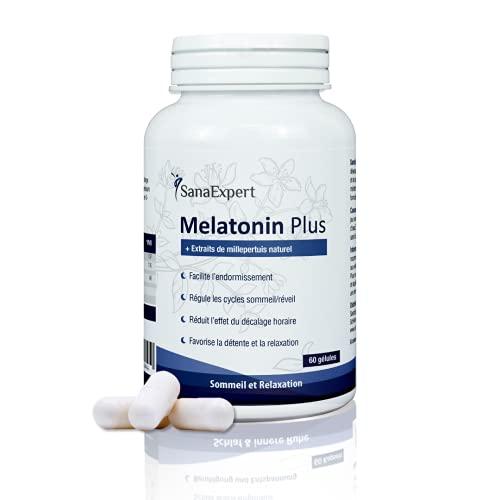 SanaExpert Melatonin Plus suplemento vitaminico para dormir mejor y conciliar el sueño con melatonina, niacina y hierba de San Juan.
