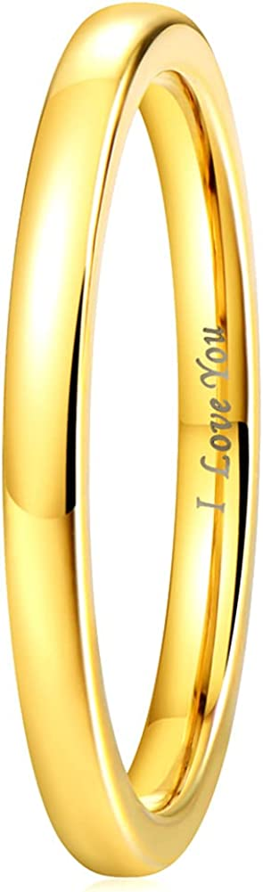 Gold Tungsten Wedding Band Promise Ring for Men Women Comfort Fit Domed Round Polished Engraved 'I Love You'