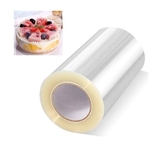 Cake Collars 4 x 394 inch, Mousse Cake Acetate Sheets for Baking, Transparent Cake Rolls, Clear Cake Strips, Chocolate Mousse Surrounding Edge, Cake Decorating (4x394 inch)