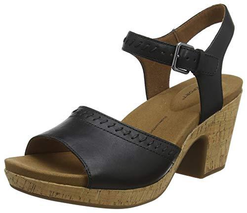 Rockport Vivianne 2 Part Wedge Sandal, Plateau Femme, Noir (Black 001), 40 EU