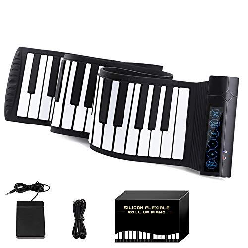 YOI Vocal MI004 ロールピアノ 88鍵盤 MIDI ハンドロールピアノ 電子ピアノ Bluetooth機能 128種類音色 14曲模範曲 128種リズム マイク内蔵 USB 持ち運び フットペダル付き イヤホン/スピーカー対応 初心者向けセット 編曲/子供/練習/演奏/進学/プレゼント 日本語説明書