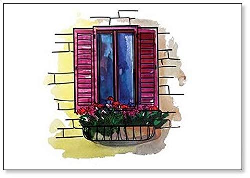 Offenes Fenster mit Blumenkasten Kühlschrankmagnet, Fenster-Motiv