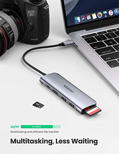 UGREEN USB C Hub HDMI USB C Adapter 6 Ports mit 4K HDMI, 100W PD, SD Kartenleser, USB 3.0 kompatibel mit MacBook Pro/Air, iPad Pro, iPad Air 4, Surface Pro 7, Surface Go, Galaxy Tab S7+ usw.