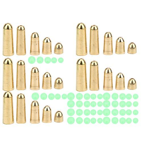 BLLBOO Gewichte von Fischerei-Platinen - Angeln von Fischerei-Platinen Kupfer T0048 75PCS 5-Größen-Messinggewichte Angeln von Platinen mit 5-Größen-Kunststoff-Leuchtfisch-Perlen-Kit