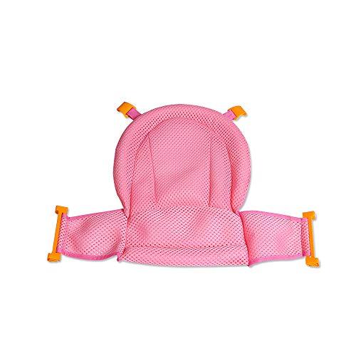 U-K Asiento de baño Sling Net Stand Sling Ducha Ajustable Malla Espesar Antideslizante Recién Nacido Cuna Anillos para bañera Rosa Elegante...