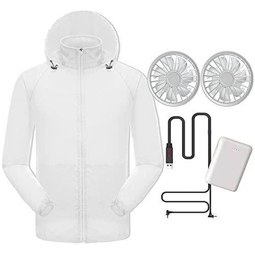 WJJ Air Conditioner Jacket with 10Ah Battery Air Cooler Sportswear with 2 Fans Outdoor Sunscreen Breathable Fishing Clothes for Camping, Mountaineering, Cycling,White,XXL