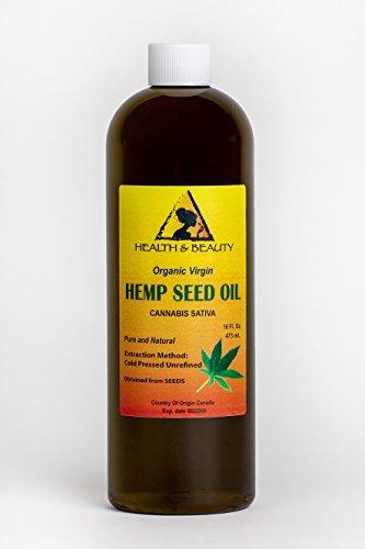 Hemp Seed Oil Unrefined Organic Virgin Carrier Cold Pressed Pure 16 oz, 473 ml