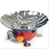 SUKHAD Ultra-Light Small Volume Round Folding Wind-Proof Camping Butane Gas Stove, Red