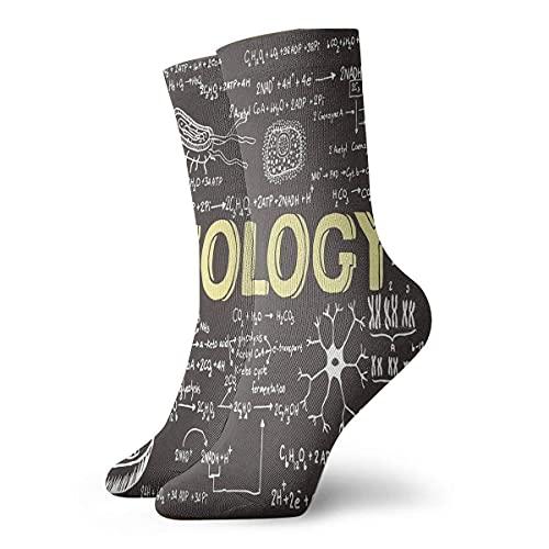 IUBBKI Calcetines unisex Educativos Negro Biología Pizarra Símbolos Novedad Calcetines deportivos Calcetines Medias 30CM