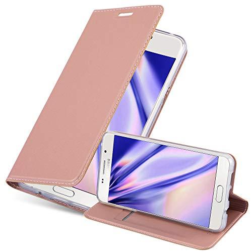 Cadorabo Hülle für Samsung Galaxy A3 2016 (6) - Hülle in ROSÉ Gold – Handyhülle mit Standfunktion und Kartenfach im Metallic Look - Case Cover Schutzhülle Etui Tasche Book Klapp Style