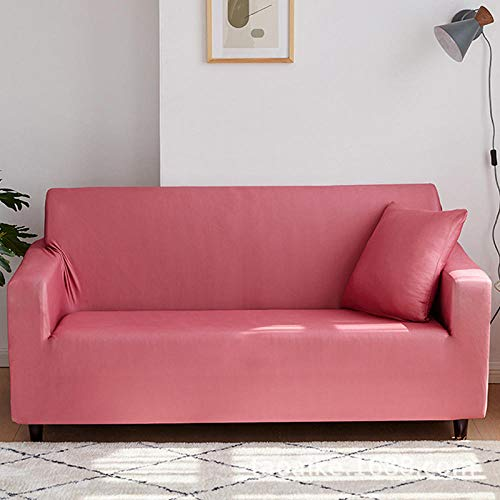 AWDX bankovertrek voor meubels, elastisch, antislip, bankovertrek van stof, kleur effen chaat rood, 235-300 cm