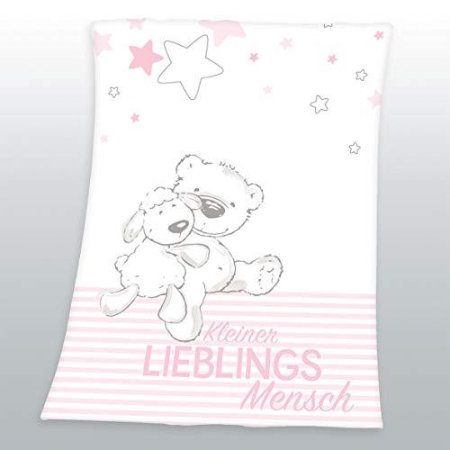 Flauschdecke Motiv : Kleiner Lieblingsmensch 75x100 cm Kuscheldecke Babydecke Schmusedecke (rosa)