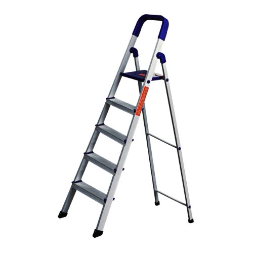CIPLA PLAST High Strength Heavy Duty Multipurpose Folding Aluminium Ladder with Platform - Home Pro 5 Steps (5 Years Warranty)