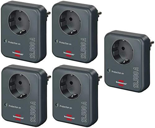 Brennenstuhl Steckdosenadapter (mit Überspannungsschutz 13.500 A, Adapter als Blitzschutz für Elektrogeräte) anthrazit (5 Stück)