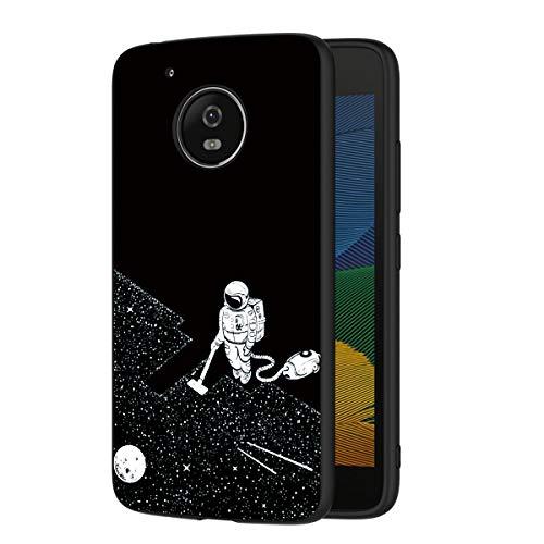 ZhuoFan Cover Motorola Moto G5, Custodia Cover Silicone Nero con Disegni Ultra Slim TPU Morbido Antiurto 3D Cartoon Bumper Case Protettiva per Motorola Moto G5 Smartphone (Spazio)