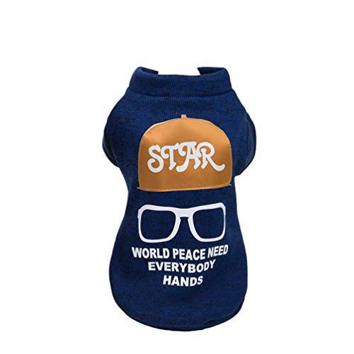 Mingdoo Haustier Hund Winter Strickpullover Brille Drucken Warm Gemütlich Strickjacken Hundemantel mit Beinen - Blau, XL
