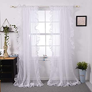 Baileduo Home Morden Ruffle Sheer Curtain Solid Rod Pocket Two Panels 50Wx96L