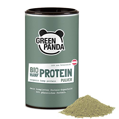 Hanfproteinpulver Bio mit 50% pflanzlichem Protein aus Österreich, Hanfsamen geschält Bio fein gemahlen, biologisch abbaubarer Beutel, laborgeprüft & zertifiziert, 175g von Green Panda