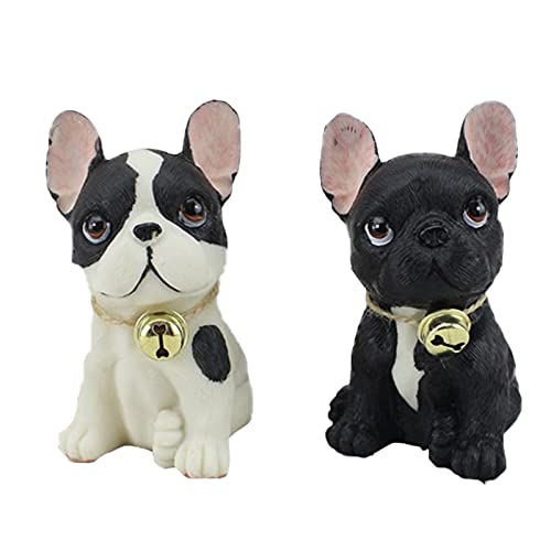 2Pack French Bulldog Resin Ornaments Cute Novelty Dog Resin Home Office Car Decoration Sculpture Patio Lawn Courtyard Decoration Animal Figurine for French Bulldog Lover Wedding Gift Mon Dad Gift