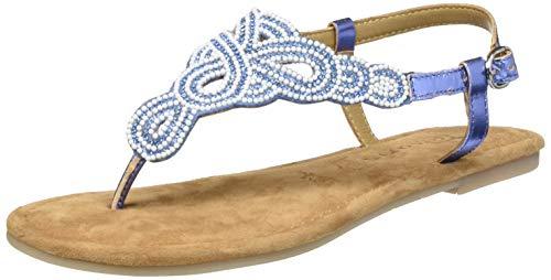 Tamaris Damen 1-1-28153-24 Zehentrenner, Blau (Bleu Glam Comb 831), 39 EU