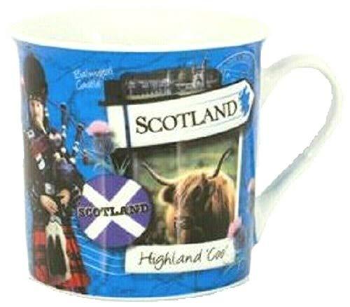 Schottland-Tasse, Motiv: schottische Tasse, Souvenir, Geschenk, Sehenswürdigkeiten, blaue Flagge, Piper