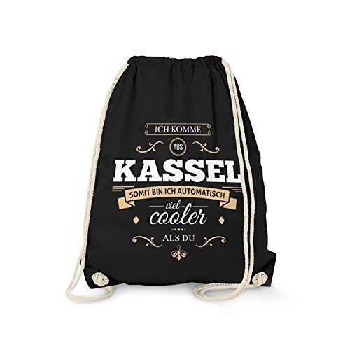 Fashionalarm Turnbeutel - Ich komme aus Kassel - Bin viel Cooler als du | Fun Rucksack mit Spruch als Geschenk Idee für stolze Kasseler, Farbe:schwarz