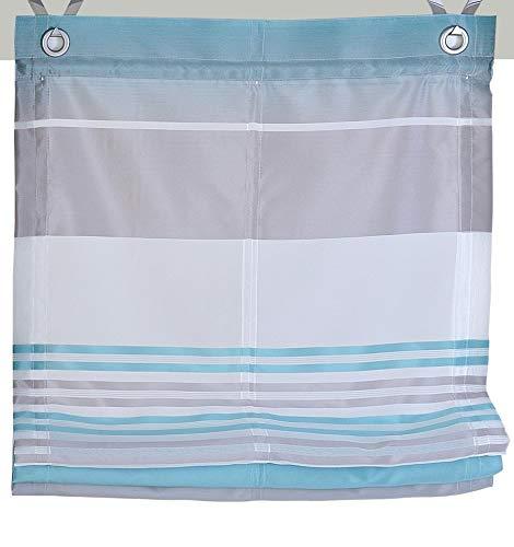 Kutti Raffrollo Ösenrollo Jamaica Querstreifen Farben türkis Breite 100 x Höhe 130 cm