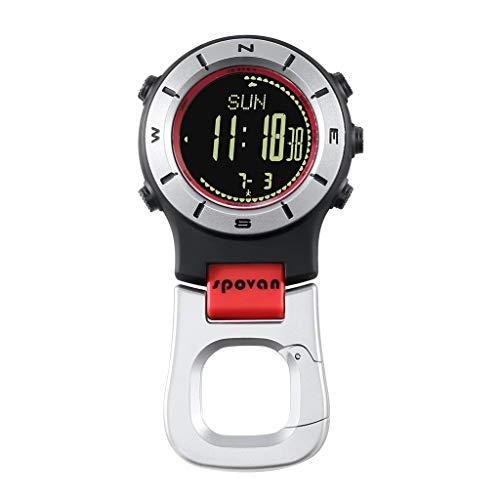 Homyl Reloj Digital de Bolsillo Multipropósito con Termómetro de Altímetro Barómetro de Brújula para Viajes de Senderismo - Negro Rojo