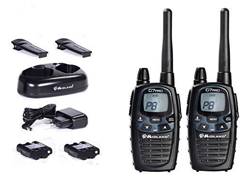 Midland Walkie-Talkie G7 Pro C1090 - Walkie-talkie (2 unidades, PMR + LPD, incluye accesorios)