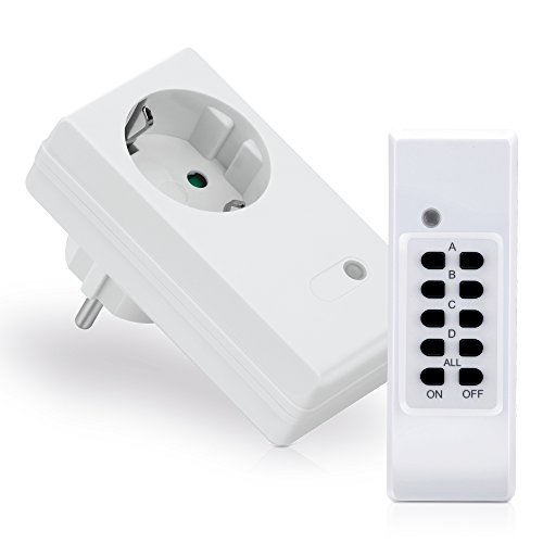 [Nuevo] conecto® Juego de enchufes radiocontrolados: 1 enchufes radiocontrolados y 1 mando a distancia, 1100 W, blanco