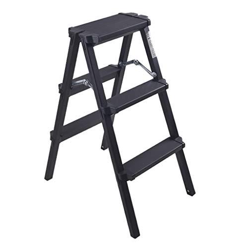 Escalera plegable taburete banqueta Escalera de mano negra Escalera plegable de 3...