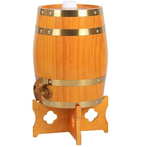 KOUJ Eichen Holz Fass Fässer 5L/10L/15L/20L/25L/30L Holzfass Weinfass Schnapsfass Whiskyfass Lagerung Vintage Stil Wein Spender Mit Rubinetto,5L