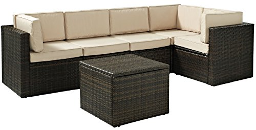 Hot Sale Palm Harbor 6 Piece Outdoor Wicker Seating Set - Three Corner Chairs, Two Center Chairs & Coffee Sectional Table
