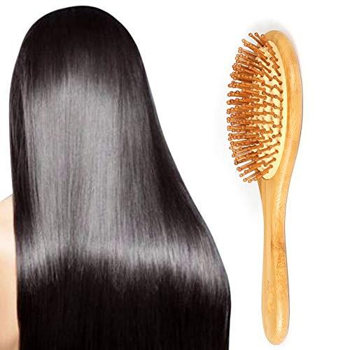 Brosse de massage en poils de bambou Brosse de massage en poils Peigne en bois massif pour cheveux épais, droits, longs, bouclés, ondulés, courts Yiit