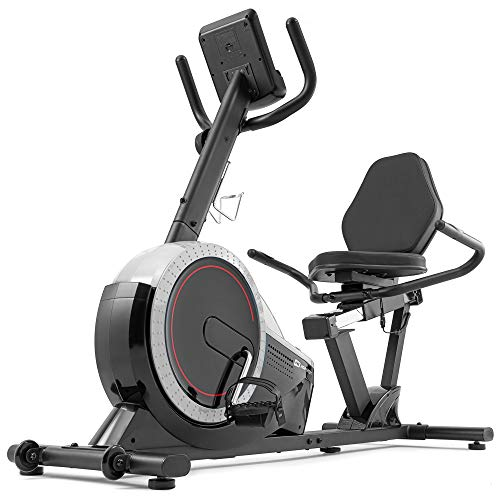 Hop-Sport Liegeergometer HS-060L - Liegeheimtrainer mit Handpulssensoren, 15 kg Schwungmasse, 8 Widerstandsstufen - Sitzergometer für Senioren max. Benutzergewicht 130 kg Silber