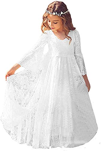 CQDY Flower Girl Dress Lace Dress for Wedding White Dress Long Sleeve 2-13T(8-9T)