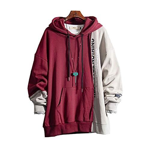 XIAOYAO Herren Kapuzenpullover Long Sleeve Sweatjacke Pullover Hoodie (Rot+Grau, XXL(Höhe:170-180cm Gewicht:65-75kg))
