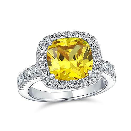 Bling Jewelry 6Ct Kanarienvogel Gelb Halo Quadrat Kissen Geschnitten Cz Zirkonia Statement Engagement Ring Cz Pave Band 925 Sterling Silber 10Mm