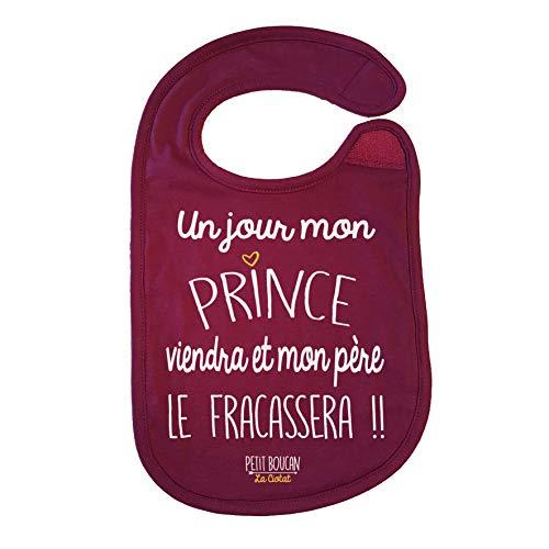 Petit Boucan'un jour viendra mon Prince' - bavoir bébé fille -100% coton doux - doublé en éponge coton très absorbant en Bordeaux
