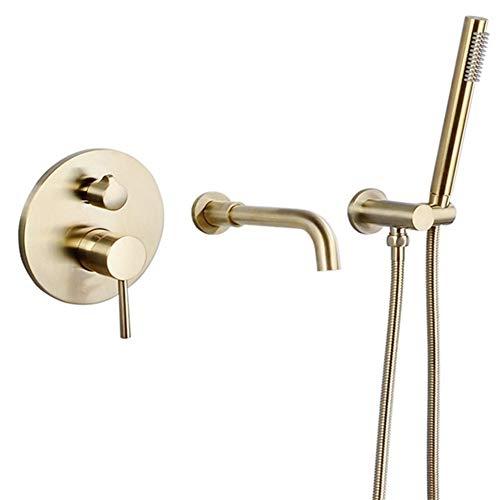 YEZIN Cabeza de Ducha Cepillado de Oro Grifería de Ducha Grifo Mezclador de Agua Conjunto para Piel Seca y Cabello.