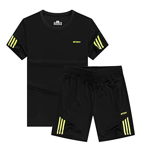 LEONMAX スポーツウェア メンズ 半袖 上下 セット ルームウェア 夏 大きいサイズ 通気 全6色 ティーシャツ ショートパンツ カジュアル 薄手 ショーツ M/L/XL/2XL/3XL/4XL(グレー,L)