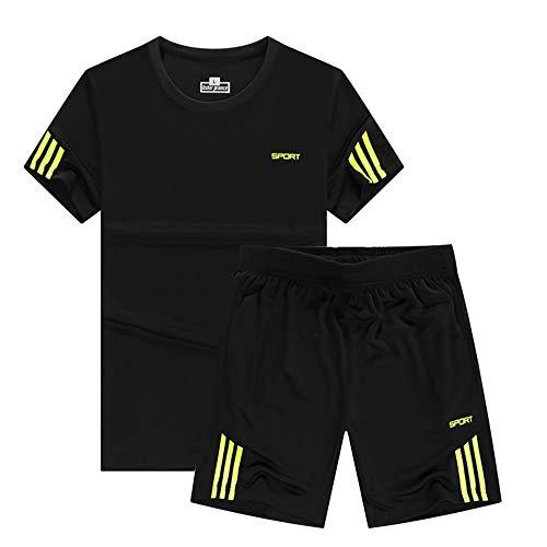 スポーツウェア トレーニング メンズ 半袖 上下 セット コンプレッションウェア 2点セット ルームウェア 春 夏 秋 大きいサイズ 通気 全6色 ティーシャツ ショートパンツ カジュアル 薄手 ショーツ M-5XL LEONMAX