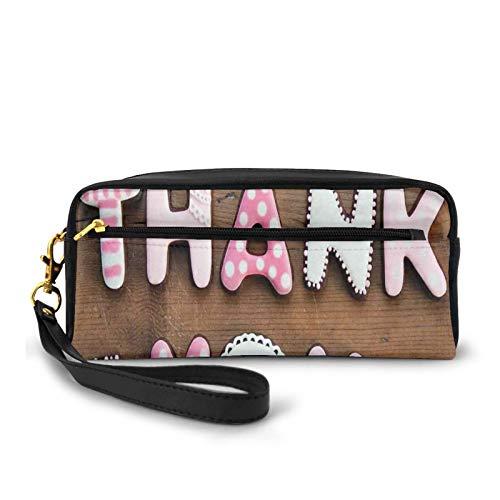 Kleine Make-up-Taschen, Geldbörse, romantische süße Keks-Buchstaben, Zucker, Süßigkeiten auf einem rustikalen Holztisch, PU-Leder, Reißverschluss, Kosmetiktasche und Bleistift-Organizer