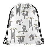 Jhonangel Sloth Sport Natación Yoga Mochila con cordón Hombro Mochila Escolar Ligera para Viajes Camping 36 x 43 cm / 14,2 x 16,9 Pulgadas