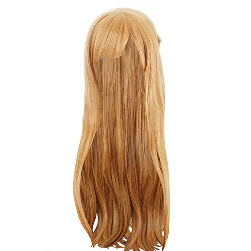 COSKING Asuna Yuuki Cosplay Wigs, Gold Long Halloween Japanese Anime Costume Hair Wig (One Size)